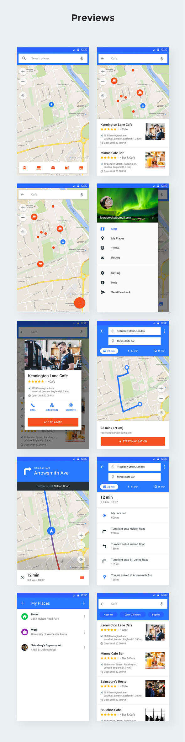 MapNavi - Maps & Navigation UI KIT for Sketch - 3