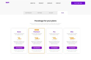 Pricing Table - Project Planner