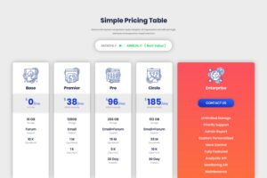 Pricing Table - Simple Package