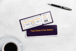 Boarding Pass Wedding Invitation - Purple Theme