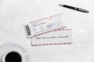Boarding Pass Wedding Invitation - White Classic Theme