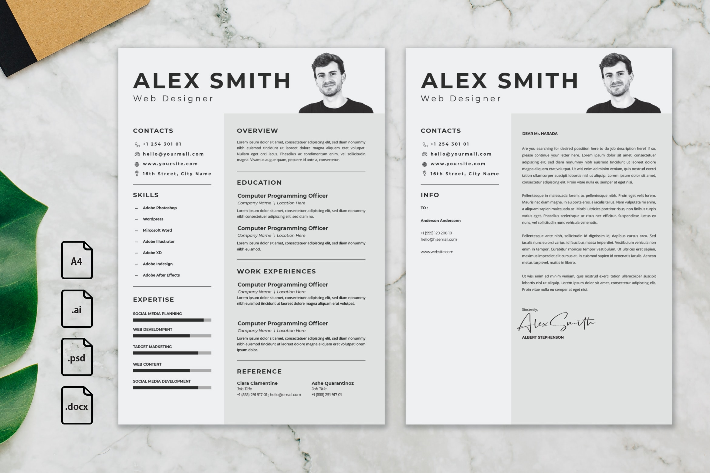 CV Resume – Graphic Designer Profile 19