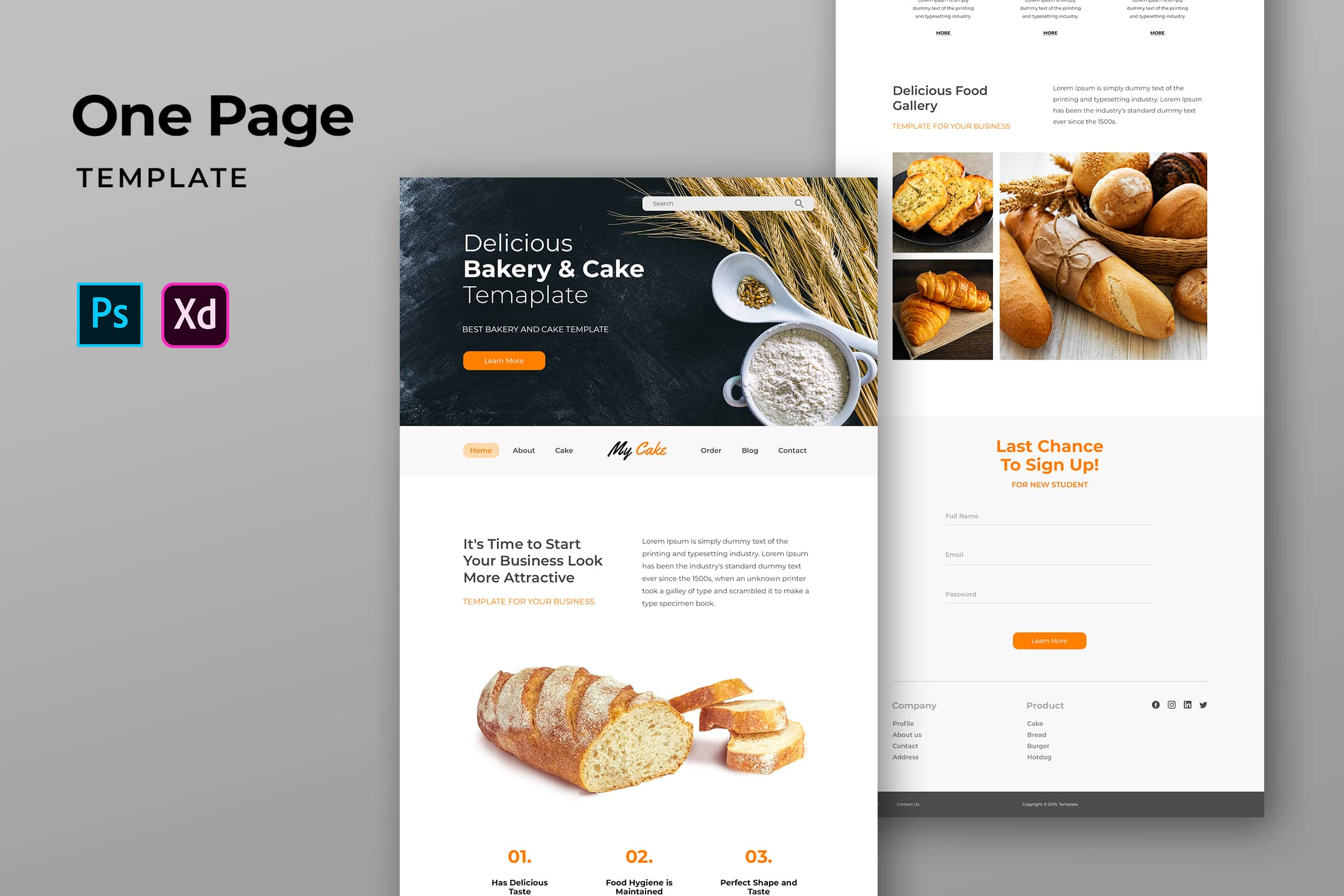 One Pages Template - Bakery & Cake Website