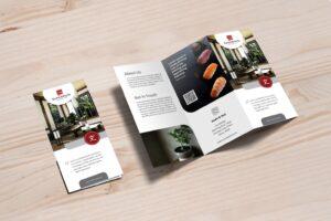 trifold brochure sushi roll menu