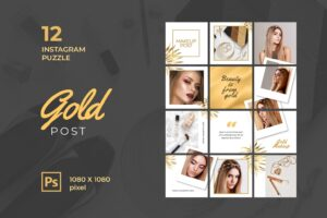 instagram puzzle – gold makeup