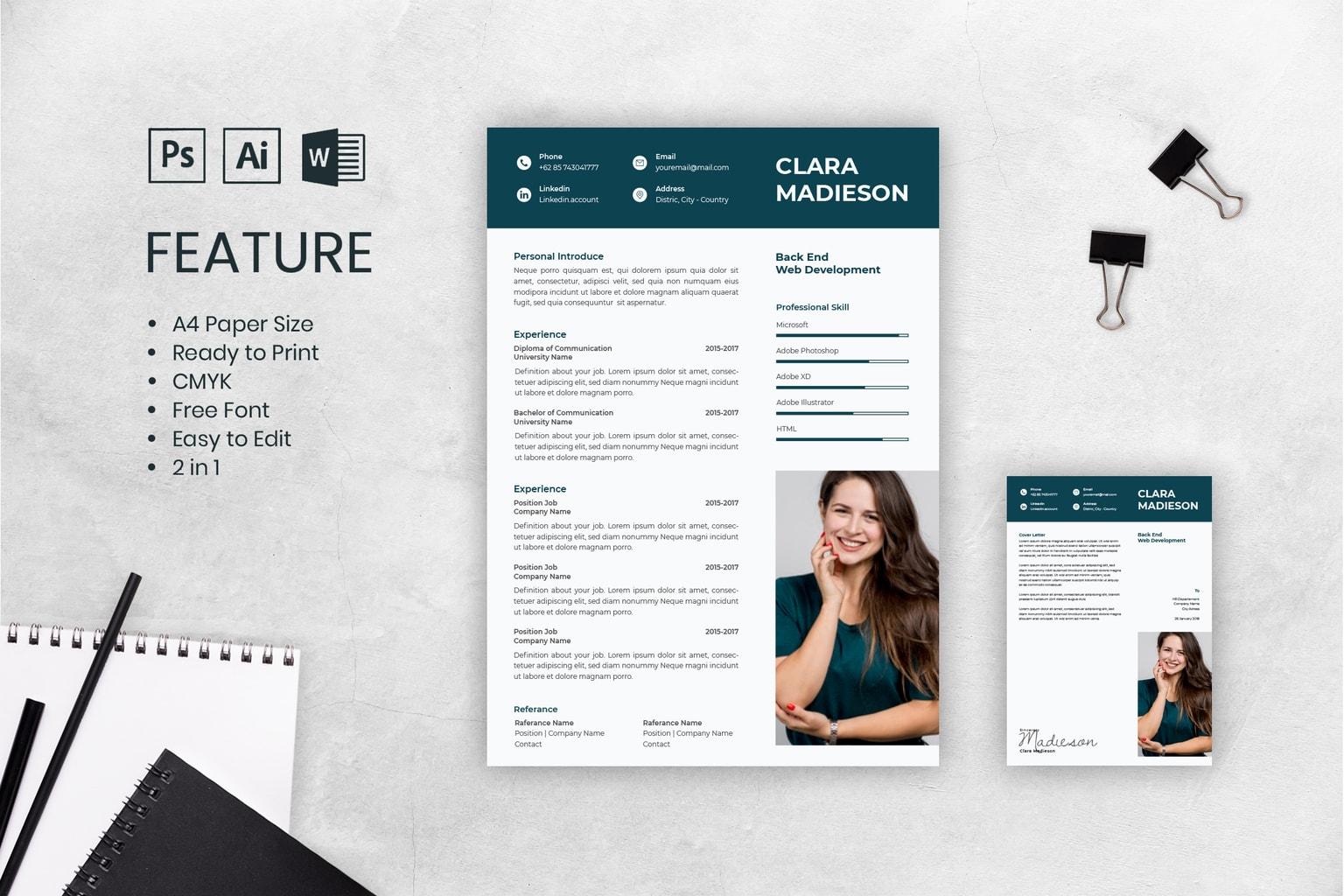cv resume female web developer