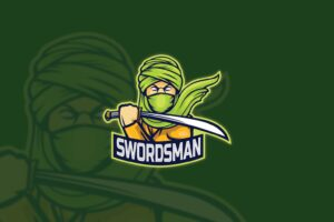 esport logo swords man