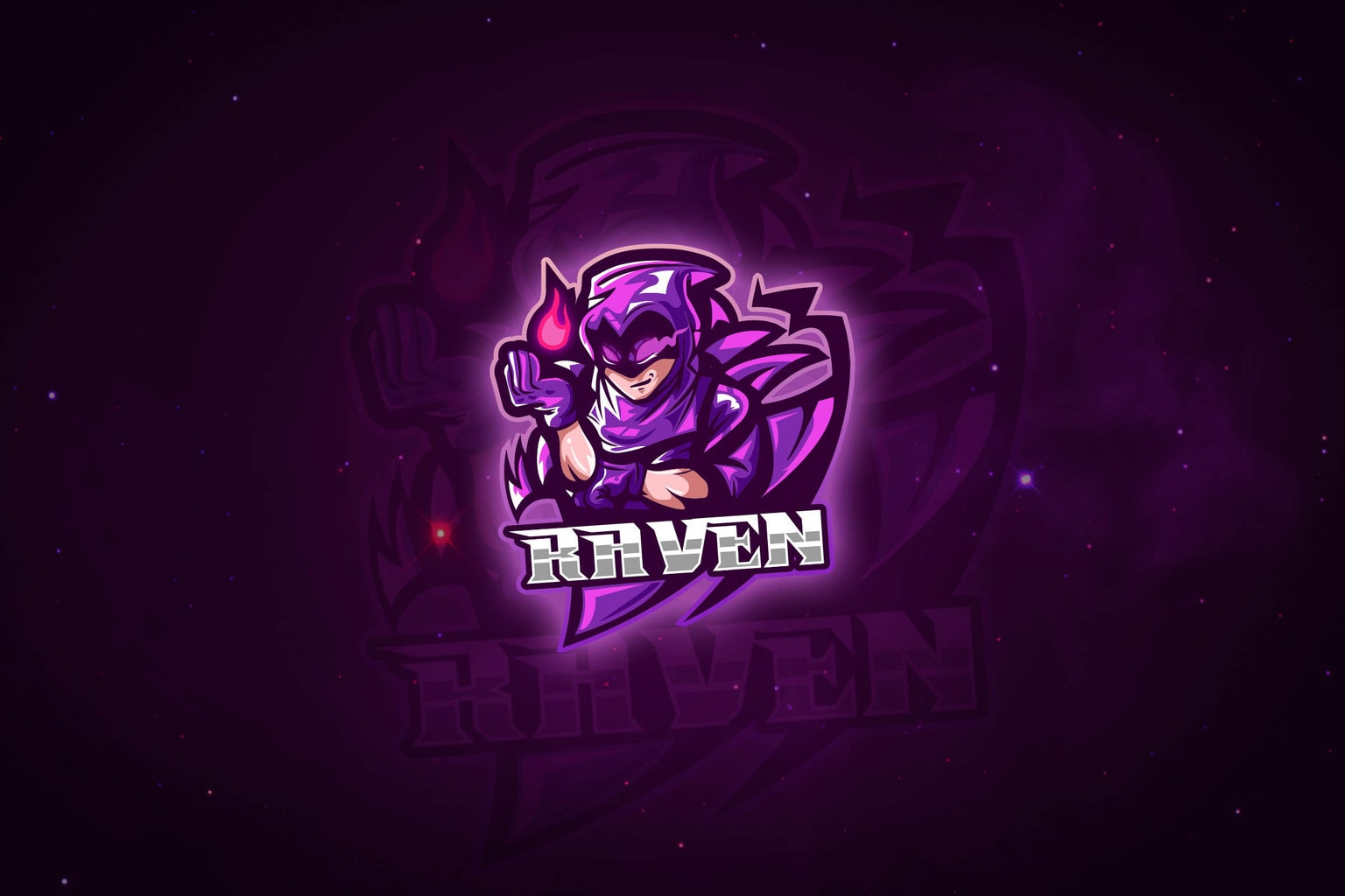 esport logo violet raven