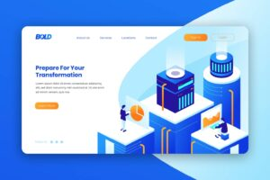 isometric landing pages business transformation