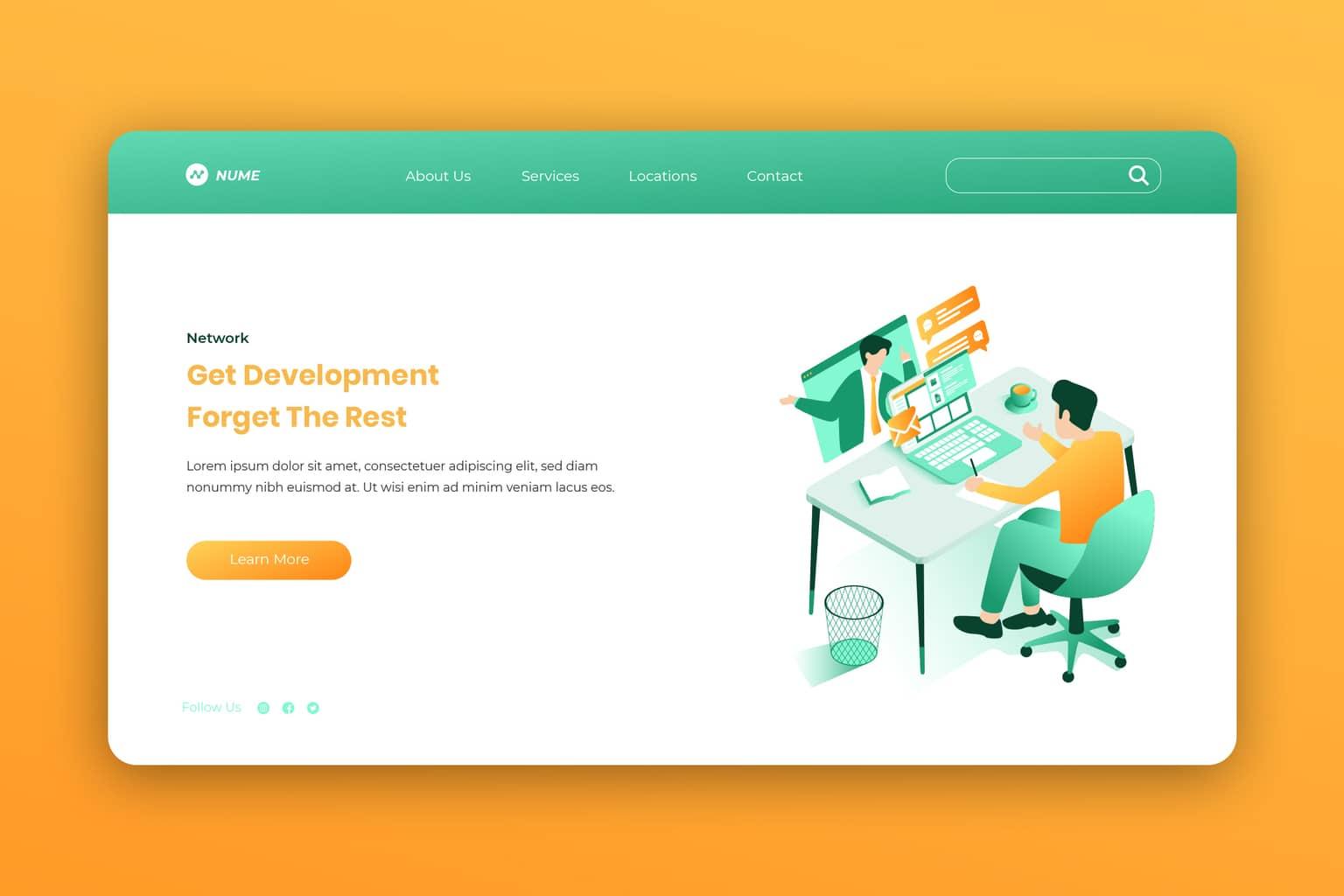 isometric landing pages company development