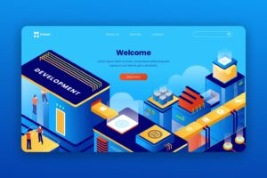 isometric landing pages enterprise system development
