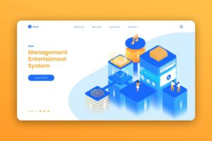isometric landing pages entertainment management system