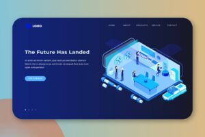 isometric landing pages future technology companies
