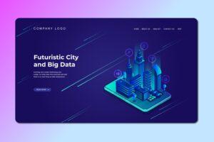 isometric landing pages futuristic city big data