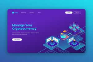 isometric landing pages management cryptocurrency