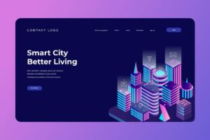 isometric landing pages modern smart city