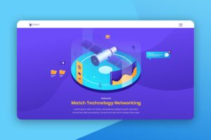 isometric landing pages network technology