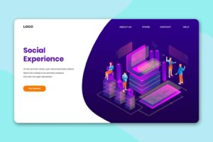 isometric landing pages optimized social experience