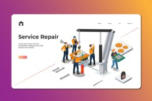 isometric landing pages service repair