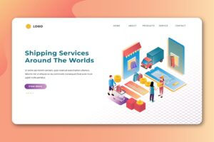 isometric landing pages shipping service