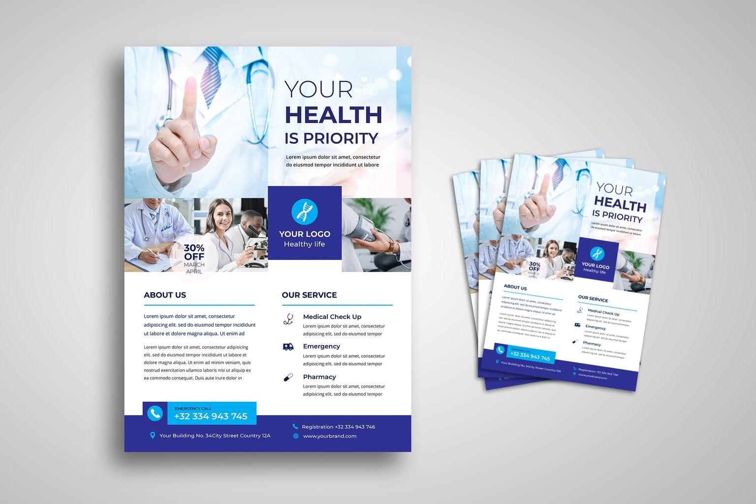 Flyer – Pharmacy Lab & Health Care – UI Creative Inside Pharmacy Brochure Template Free