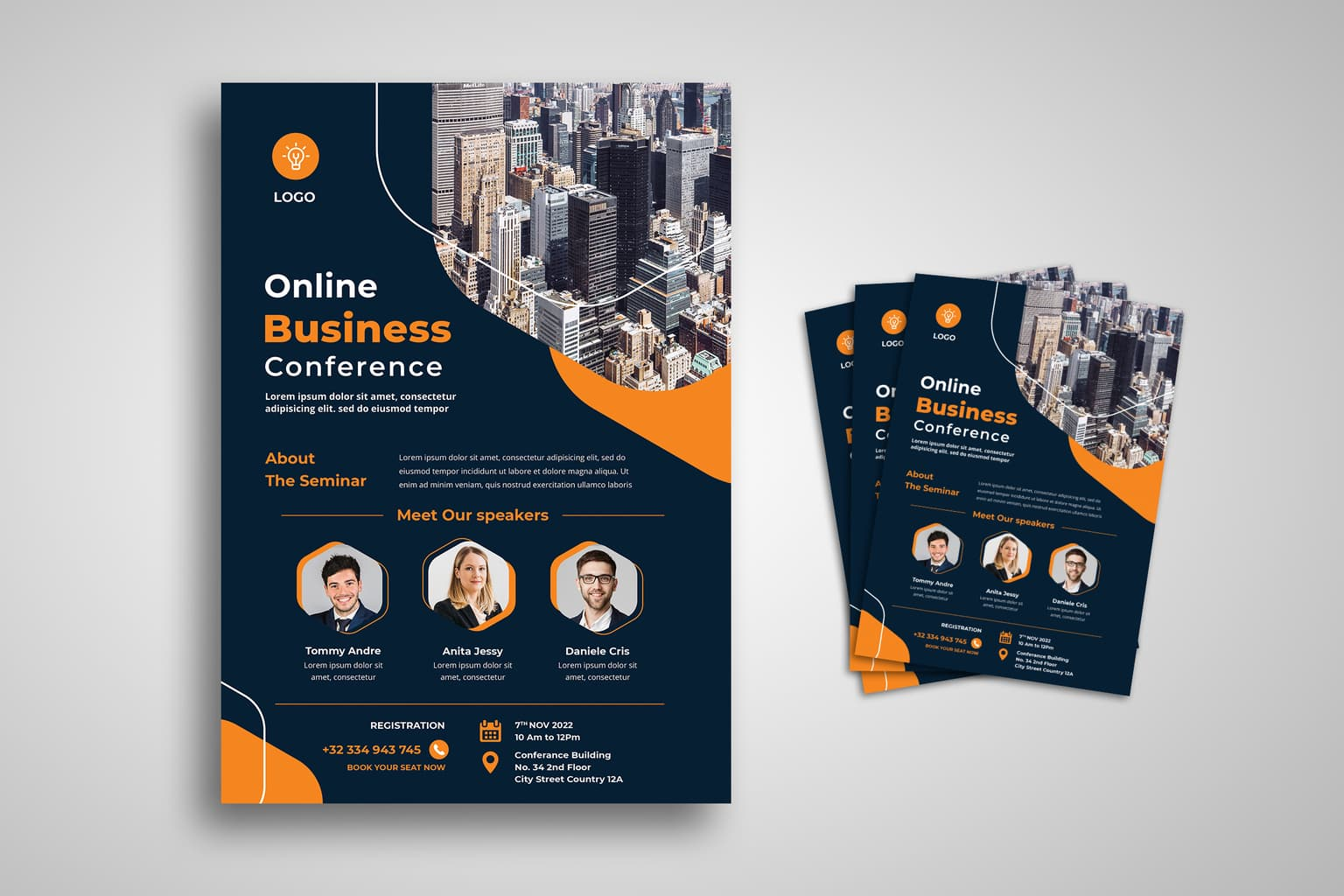 flyer template online business conference 1