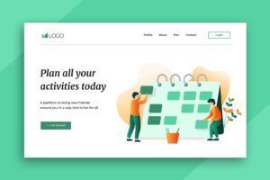 illustration landing pages activities planner