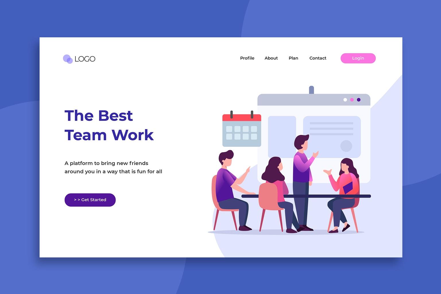illustration landing pages best team works
