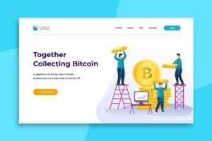 illustration landing pages bitcoin marketplace