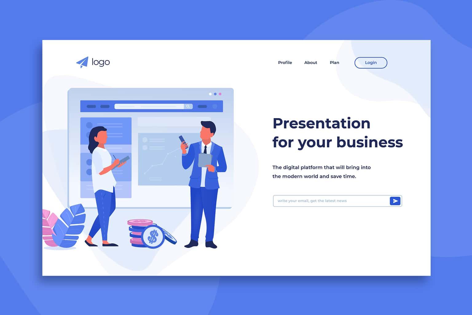 illustration landing pages business presentation