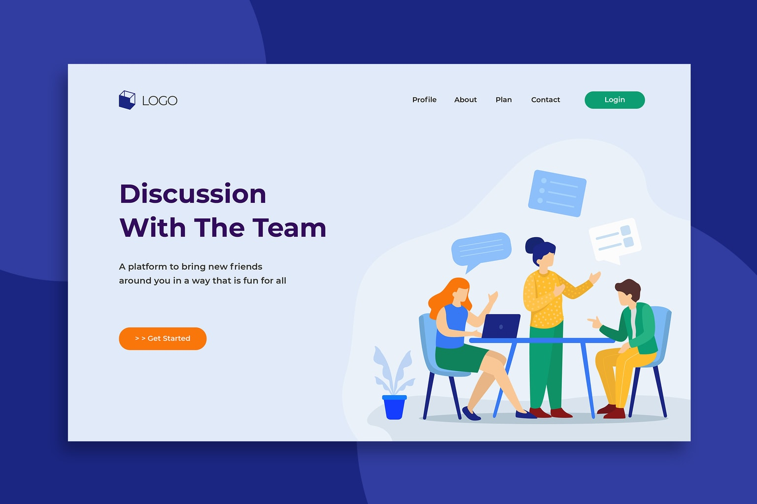 illustration landing pages business team discussion