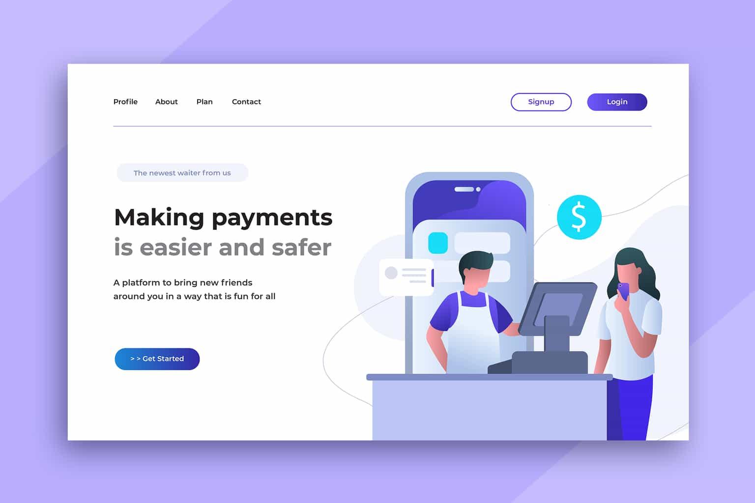 illustration landing pages digital payments