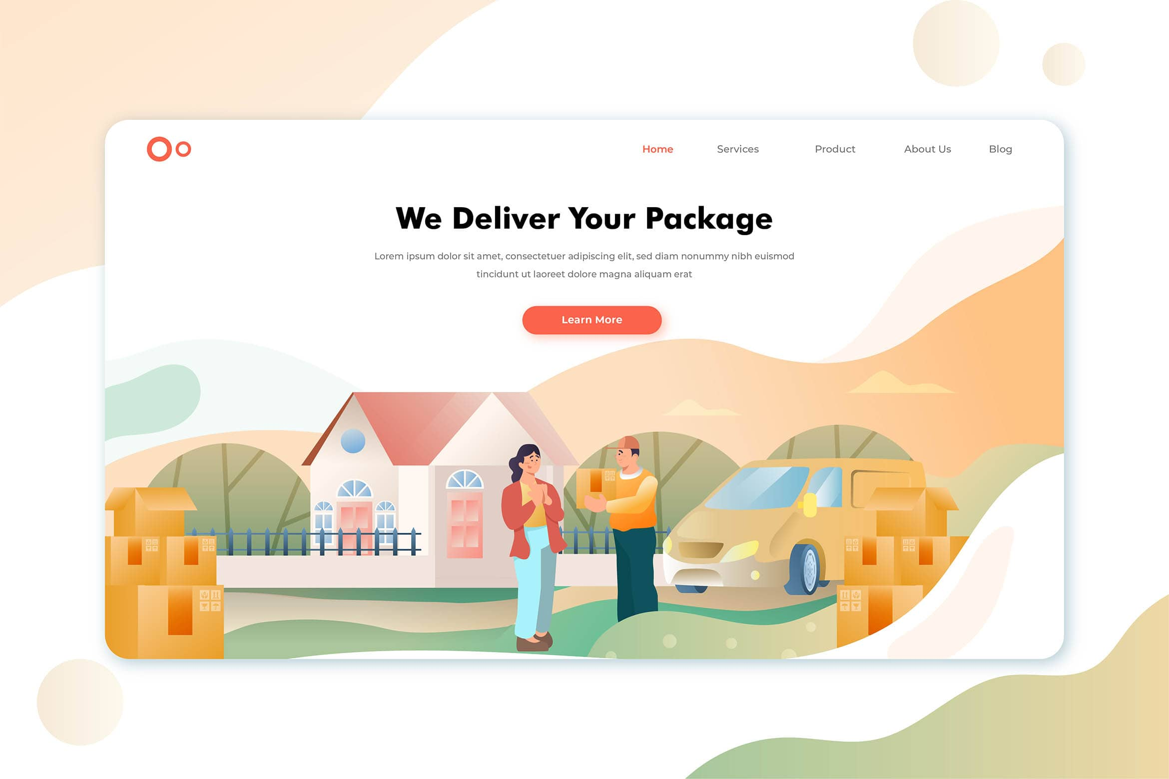 illustration landing pages express package delivery