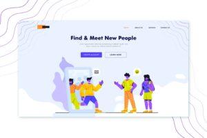 illustration landing pages find meet apps