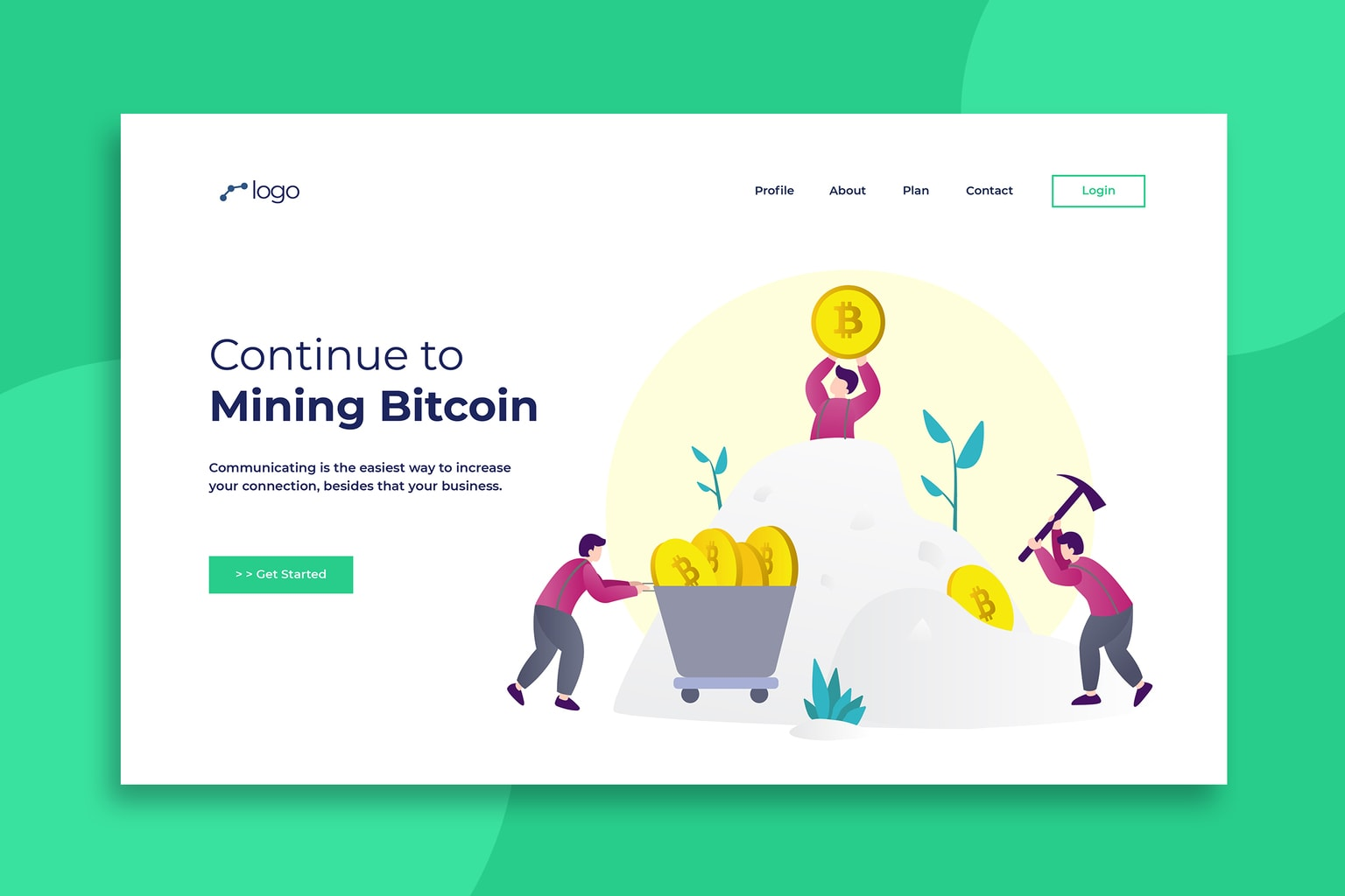 illustration landing pages mining bitcoin