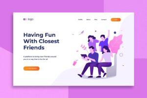 illustration landing pages social closest friends