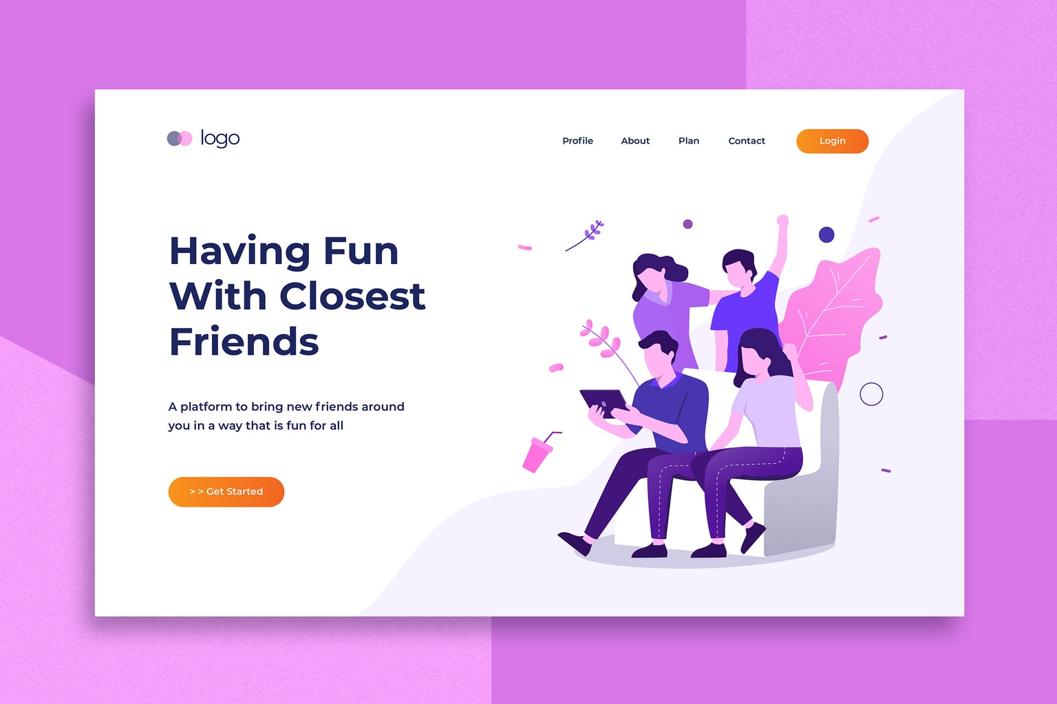 illustration landing pages social closest friends