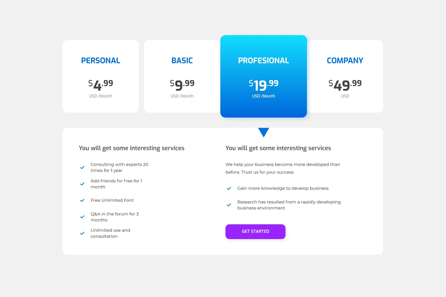 pricing table digital business development package