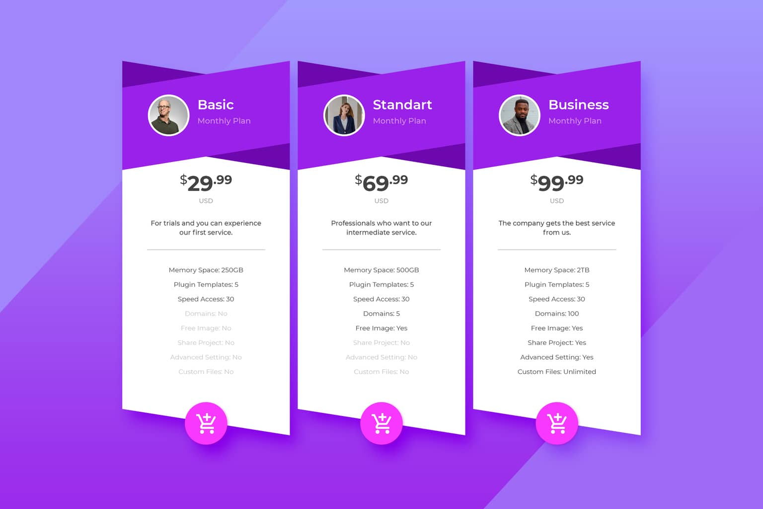 pricing table domain web hosting services