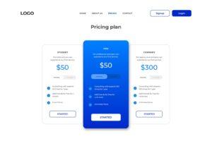 pricing table hosting server website