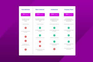 pricing table price of template package