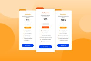 pricing table server hosting services