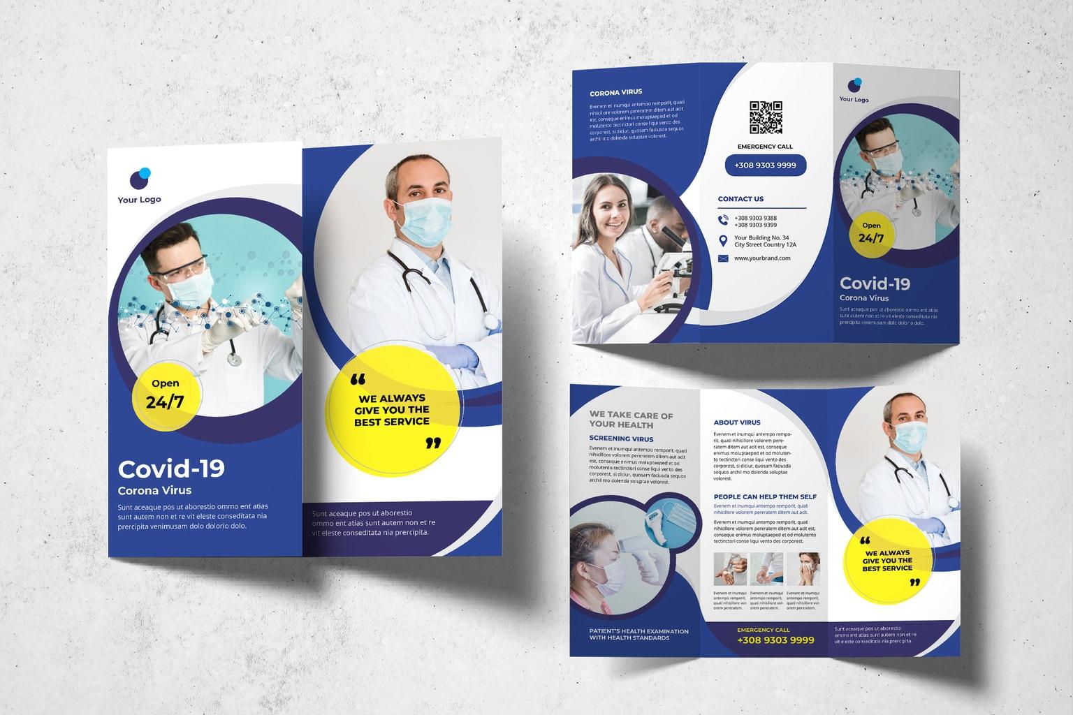 trifold brochure corona virus care