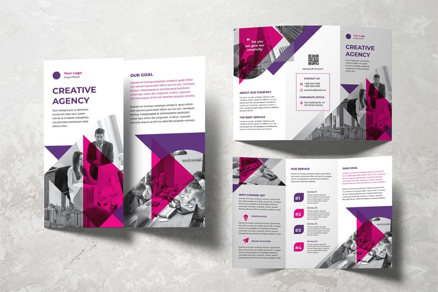 trifold brochure selected creative agency