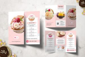 trifold brochure special sweet cake
