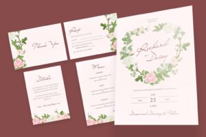 wedding invitation clean pink background