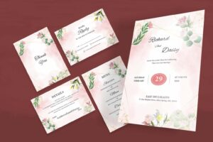 wedding invitation colored blooming flowers 1