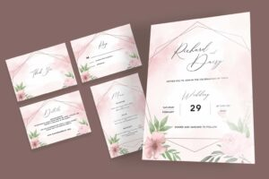 wedding invitation pink abstract watercolor 4