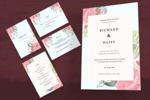 wedding invitation pink floral frame