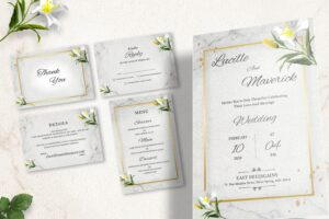 wedding invitation simple florals 1